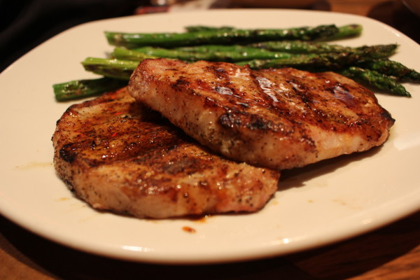 Outback Steakhouse Maple Mustard Glazed Pork Chops with Asparagus